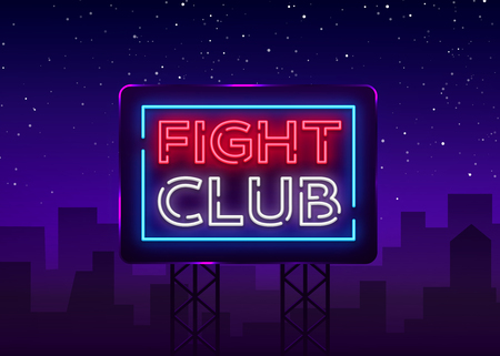 Fight club neon signboard. Bright night advertising, light banner, design neon sign template. Vector illustration. Billboard