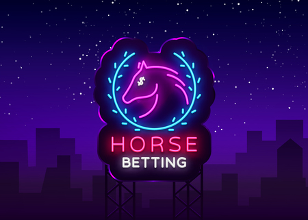 Horse Betting Neon Sign Vector. Horse Betting Logo in Neon Style, Design Template. Horse racing symbol, icon, emblem. Light banner, bright night advertising. Vector illustration. Billboard