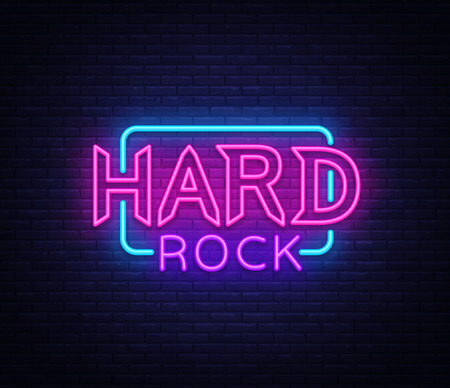 Hard Rock Neon Sign Vector Illustration. Design template neon signboard on Rock Music, Light banner, Bright Night Advertising. Vector Ilustração