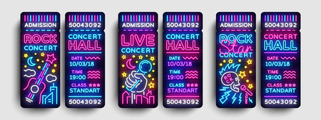 Concert Tickets Collection Design Template in Modern Trend Style. Rock Concert Tickets Vector Illustration, Neon Style, Light Banner, Bright Advertising for Concert, Festival. Nightlife Vector 向量圖像
