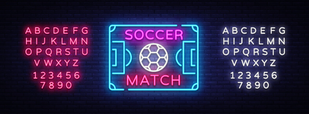 Soccer Match Logo Neon Vector. Design Template Soccer Neon Sign, Bright Night Signboard, Design Element for Football Advertising, Championship European Football Symbol. Vector. Editing text neon sign Illustration