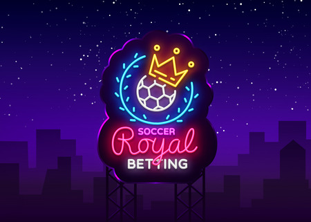 Betting Soccer neon sign. Football betting logo in neon style, Royal concept, light banner, bright night betting sports advertisement, design element gambling, casino. Vector. Billboard