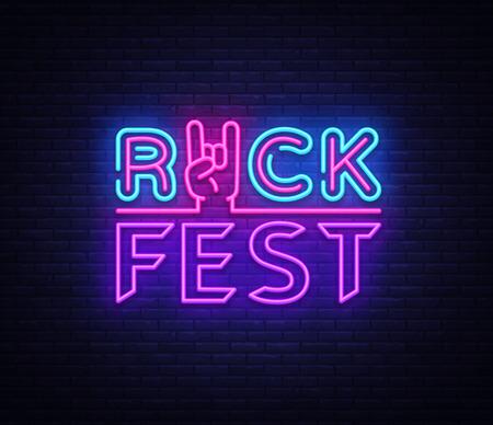 Rock Fest logo in neon style. Rock Festival neon night sign, design template vector illustration for Rock Festival, Concert, Live music, Light banner. Vector illustration