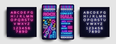 Rock Concert Ticket Design Template in Modern Trend Style. Concert Tickets Vector Illustration, Neon Style, Light Banner, Bright Advertising for Concert, Festival. Vector. Editing text neon sign