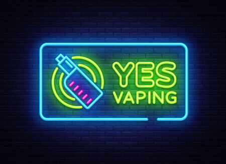 Yes Vaping neon sign. Zone Vaping neon sign vector template, light banner, bright night illustration, symbol, places for vape, electronic cigarette neon. Vector illustration Illustration