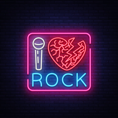 I love rock neon signboard. Rock music neon sign, symbol, bright icon, design element of Rock and Roll. Vector illustration