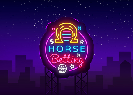 Horse Betting Logo in Neon Style. Horse Betting Neon Sign Vector, Design Element. Betting Sports, Horse racing symbol, icon, emblem. Light banner, bright night advertising. Vector. Billboard