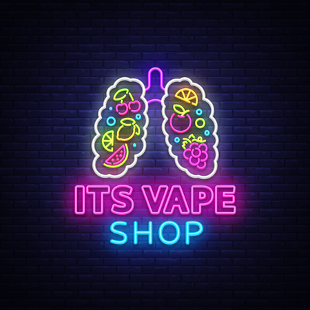 Vape shop neon sign vector. Vaping Store Logo Emblem Neon, Its Vape Shop Concept With Lungs and Fruits, Fighting Smoking. Trendy designer elements for print and advertising t-shirts. Vector Illustration