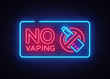 No Vaping neon sign vector template, light banner, bright night illustration, symbol vaping ban, no vaping, electronic cigarette neon. Vector illustration 向量圖像