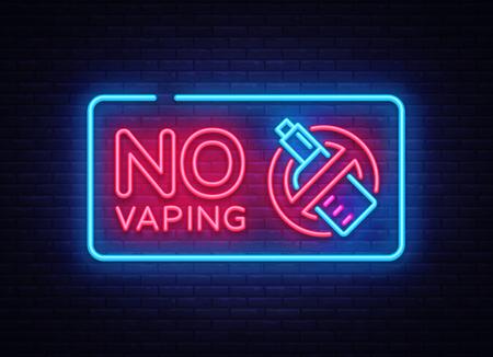 No Vaping neon sign vector template, light banner, bright night illustration, symbol vaping ban, no vaping, electronic cigarette neon. Vector illustration Illustration