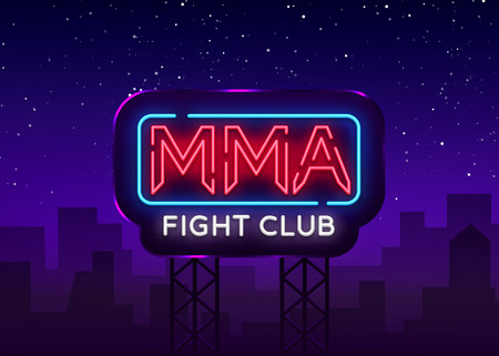 Fight Club neon sign vector. MMA neon symbol logo, design element on night battles, light banner, night neon advertisement. Billboard. Illustration