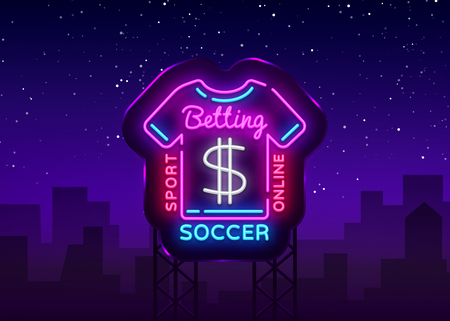 Betting Soccer neon sign. Football betting logo in neon style, T-shirt concept, light banner, bright night betting sports advertisement, design element gambling, casino. Vector illustration. Billboard
