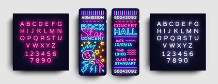 Rock Concert Ticket Design Template in Modern Trend Style. Rock Star Concert Tickets Vector Illustration, Neon Style, Light Banner, Bright Advertising. Nightlife Vector. Editing text neon sign. 向量圖像