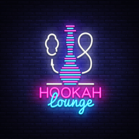 Hookah neon sign vector. Hookah Lounge logo in neon style design pattern bright advertising Hookah night, light banner design element. Vector illustration.