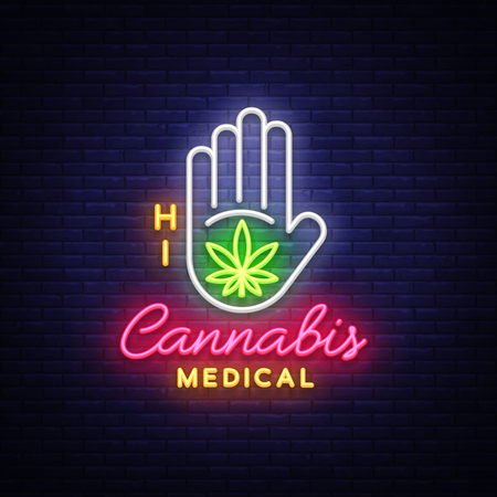 Marijuana medical neon sign and logo, graphic template in modern trend style. Cannabis is an organic hemp. Green farm Vector Illustrations