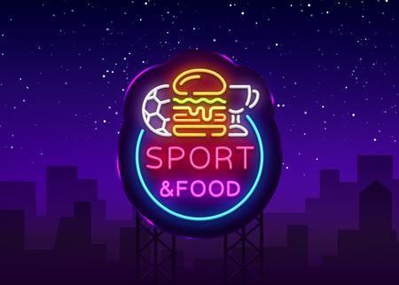 Sport Food Neon Sign Vector. Sports food logo in neon style, light signboard, bright billboard, night neon advertising, sports bar, pub, dining room, football online, fan club. Vector. Billboard