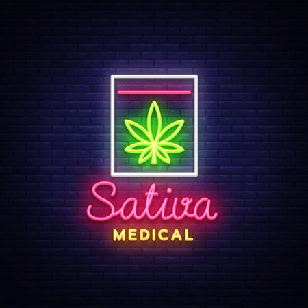 Marijuana Medical Logo Neon Vector. Sativa Medical, Marijuana smoking, storage and cultivation of cannabino medical equipment, light banner, design template. Vector illustration Illustration