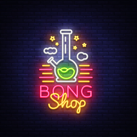 Bong Shop neon sign. Logo design template for shop advertising or signage. Tobacco Smoking Apparatus. Vector illustration