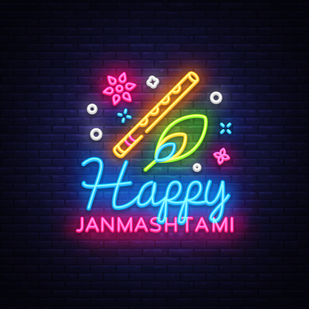 Happy Janmashtami greeting card neon vector design template. Neon sign, modern trend design for Indian festival. Dahi handi is Janmashtami celebrating. Template for flyer, banner, postcard. Vector Illustration