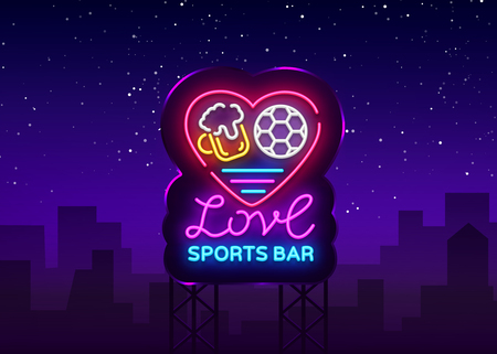 Sports bar logo neon vector. Sports pub neon sign, I love beer and Soccer concept, nightlife bright signboard for sports pub, bar, fan club, dining room, soccer cup, football online. Vector Billboard Illustration