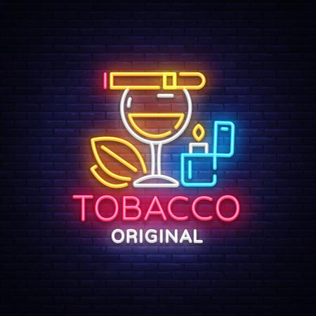 Tobacco shop  vector. Cigarettes Shop night bright advertising design template. Vector illustration