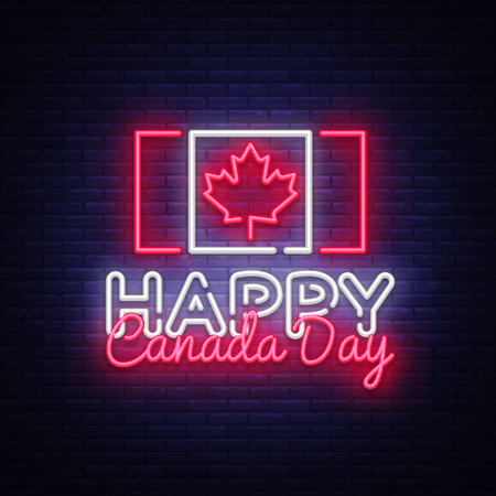 Happy Canada Day Greeting Card Design template modern trend style. Canadian Day Neon sign, light banner. 1 July Canadian Day. Vector illustration