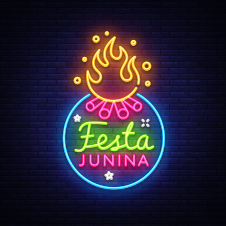 Festa Junina Festive Vector Illustration. Design template is neon style, modern trend design. Latin American holiday, Brazilian June party, inscription on Portuguese Festa Junina. Vector