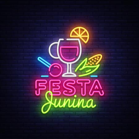Festa Junina Festive Vector Illustration. Design template is neon style, modern trend design. Latin American holiday, Brazilian June party, inscription on Portuguese Festa Junina. Vector Banque d'images - 103049670