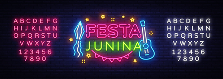 Festa Junina greeting card design template neon vector. Modern trend design, neon sign, light banner. Vector Brazilian Festival for greeting card, invitation or festive poster. Editing text neon sign