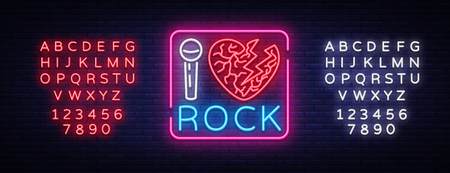 I love rock neon signboard. Rock music neon sign, symbol, bright icon, design element of Rock and Roll. Vector illustration. Editing text neon sign