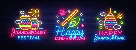 Happy Janmashtami greeting card collection neon vector design template. Neon sign, modern trend design for Indian festival. Dahi handi is Janmashtami celebration. Template for flyer, banner. Vector