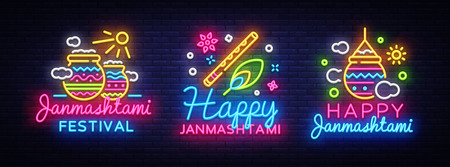 Happy Janmashtami greeting card collection neon vector design template. Neon sign, modern trend design for Indian festival. Dahi handi is Janmashtami celebration. Template for flyer, banner. Vector