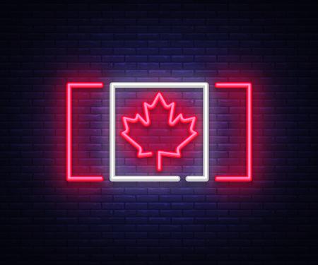 Canada flag neon vector sign. Canada flag symbol banner light, bright night Illustration. Vector illustration Ilustração