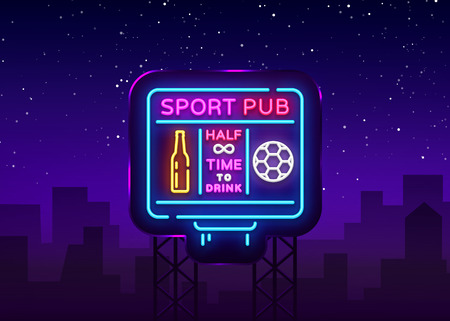 Sports bar logo neon vector. Sports pub neon sign, Football scoreboard concept, nightlife bright signboard for sports pub, bar, fan club, dining room, soccer cup, football online. Vector Billboard