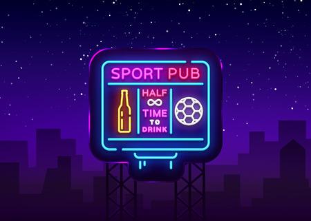 Sports bar logo neon vector. Sports pub neon sign, Football scoreboard concept, nightlife bright signboard for sports pub, bar, fan club, dining room, soccer cup, football online. Vector Billboard