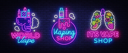 Logos collection electronic cigarette in neon style. Vape Shop Neon Signs set, Vape Shop Concepts, Emblem, Bright Night Signboard, Neon Advertising Electronic Cigarettes. Vector illustration
