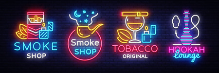 Cigarette Shop Logo collection Neon Vector. Smoke shop neon signs, Hookah lounge, vector design template vector illustration on tobacco theme, bright night cigarette advertisement. Vector Illustration