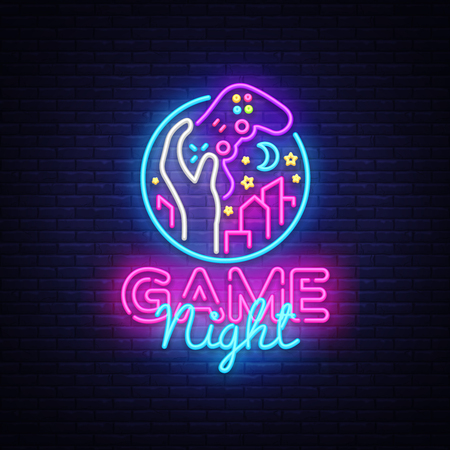 Game Night neon sign Vector logo design template. Game night logo in neon style, gamepad in hand, video game concept, modern trend design, light banner, bright nightlife advertisement. Vector Illustration