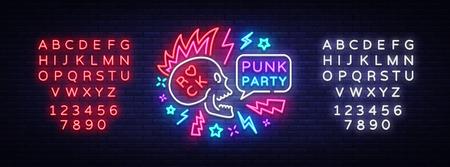 Segno al neon del partito punk vettore. Logo di musica rock, insegna al neon notturna, invito a elementi di design a festa rock, concerto, festival, pubblicità luminosa notturna, banner luminoso. Vettore. Modifica del testo al neon
