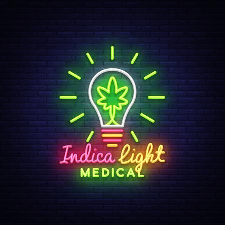 Marijuana Medical Logo Neon Vector. Design Concept Cannabis, Indica Light, storing and growing cannabino medical equipment, light banner. Vector illustration