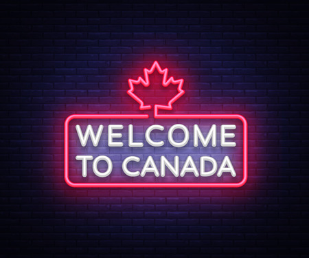 Welcome to Canada Neon Sign Vector. Welcome to Canada symbol banner light, bright night Illustration. Vector illustration