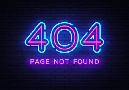 404 page not found vector banner. 404 error design template, neon sign billboard, contemporary design design. Vector illustration
