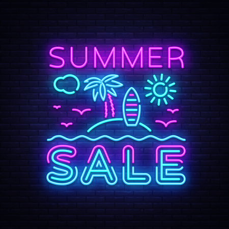 Summer Sale Flyer Design Template Vector. Summer discounts brochure with tropical landscape, modern trend design, neon style, light banner, bright neon advertising. Vector illustration