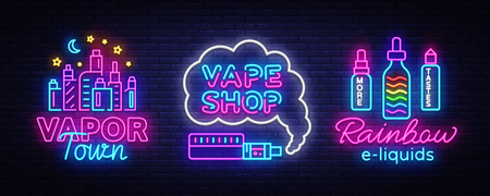 Vape shop neon sign collection vector. Vaping Store Logos set Emblem Neon, Its Vape Shop Concept Vapor Town, Rainbow E-liquids, Fighting Smoking. Trendy designer elements for advertising. Vector
