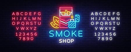 Vector de neón del logotipo de la tienda de humo. Letrero de neón de la tienda de cigarrillos, ilustración de vector de plantilla de diseño vectorial sobre el tema del tabaco, anuncio de cigarrillos de noche brillante. Vector. Edición de letrero de neón de texto