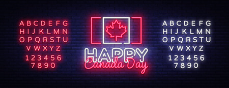 Happy Canada Day Greeting Card Design template modern trend style. Canadian Day Neon sign, light banner. 1 July Canadian Day. Vector illustration. Editing text neon sign