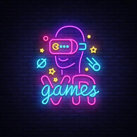 Vector de letrero de neón de juegos VR. Juegos de logotipo de realidad virtual, emblema en diseño de tendencia moderna, plantilla vectorial, banner de luz, promoción de videojuegos de noche viva, elemento de diseño. Vector