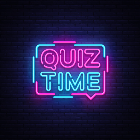 Quiz Time announcement poster neon signboard vector. Pub Quiz vintage styled neon glowing letters shining, Light Banner, Questions team game.Vector illustration Stockfoto - 103260351