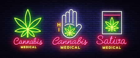 Marijuana medical collection neon sign and logo, graphic template in modern trend style. Sativa medical, Cannabis is an organic hemp. Green farm Vector Illustration