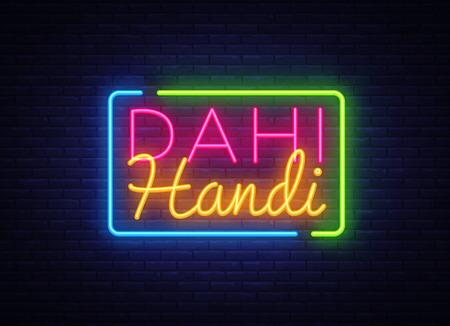 Dahi Handi Celebration Design Template. Janmashtami neon style, light banner, modern trend design. Indian holiday, Krishnas Birthday. Vector illustration